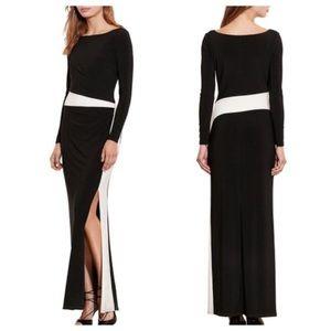 Lauren RL Evening Boatneck Side Slit Dress
